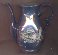 Vintage Florida Souvenir Irridescent Blue Slip Decorated Dragon Teapot - $12.00