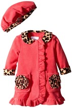 Bonnie Jean Baby Girls 12M-24M Coral Bonaz Rosette Pocket Fleece Coat/Hat Set
