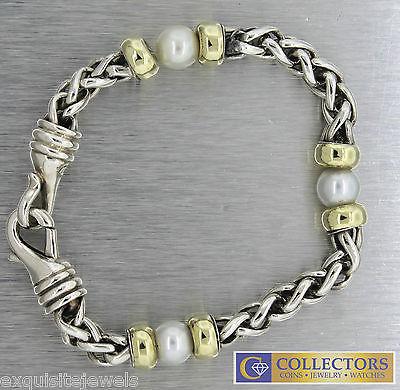David Yurman Sterling Silver 14k Yellow Gold Wheat Chain Pearl Bracelet