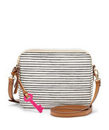 Fossil Sydney Blue Stripe PVC Double Zipper Cro... - $3.679,57 MXN