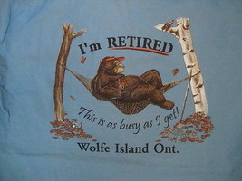 "Wolfe Island Ontario Canada Bear in a Hammock ""I'm Retired"" Light Blue T Shirt M - $17.86"