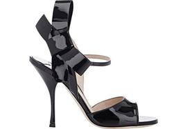 Miu Miu-Prada Black Patent Strap Bow Mary Jane Sandals Shoes Slingback 37 - $315.00