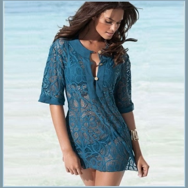 Ocean Blue Crotchet Swim Suit Short Sleeved Beach Tunic Cover Up Shirt