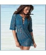Ocean Blue Crotchet Swim Suit Short Sleeved Beach Tunic Cover Up Shirt  - $46.95