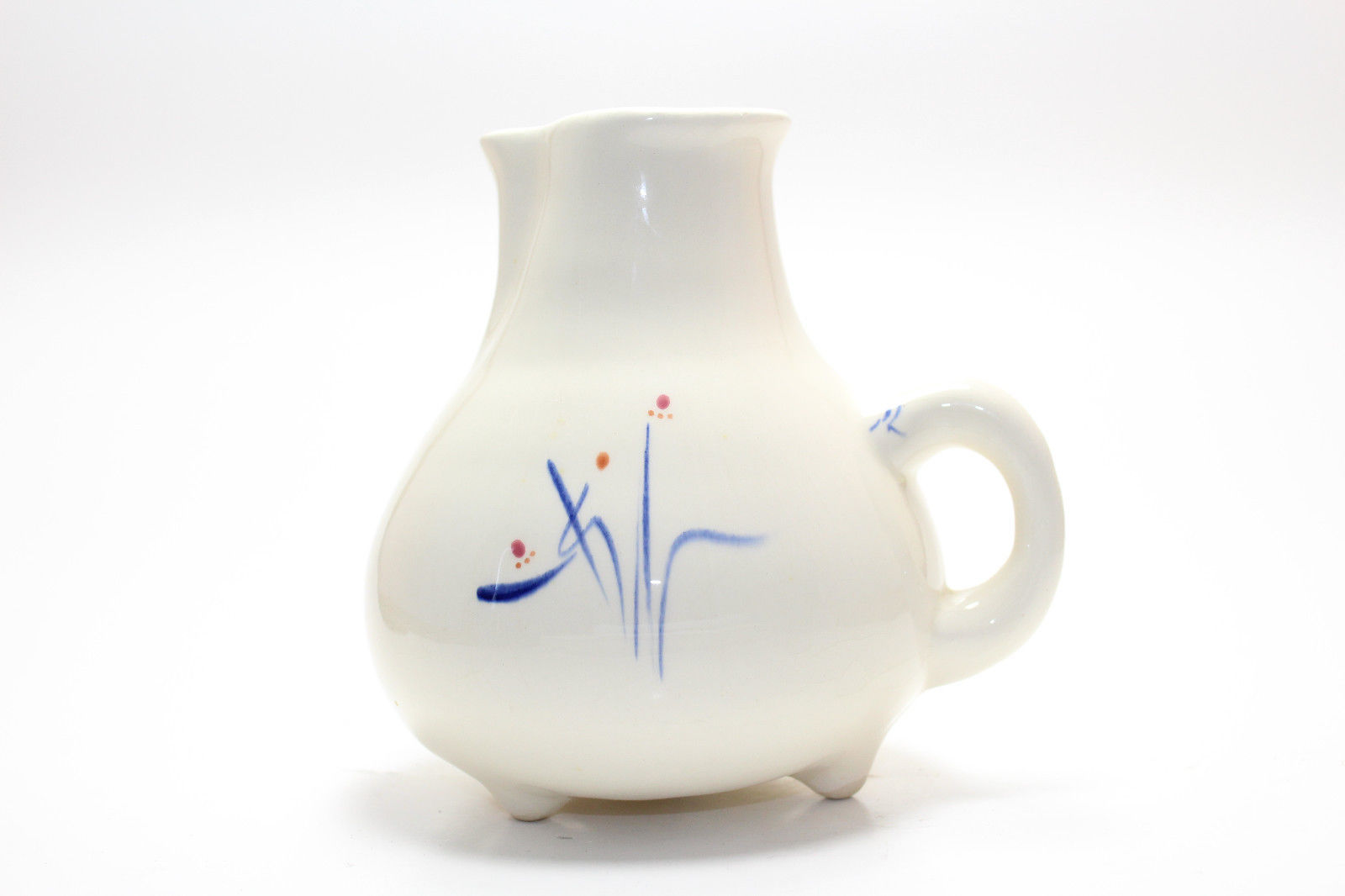 Primary image for Mid Century Blue Floral Motif Creamer Pitcher By Levine Pottery CA