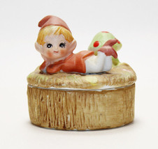 Trinket Box with Lazy Elf - Gnome- Pixie & Mushroom Vintage 1970s HOMCO #5404 - $12.86