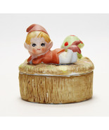 Trinket Box with Lazy Elf - Gnome- Pixie & Mushroom Vintage 1970s HOMCO ... - $12.86