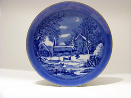 Vintage Currier & Ives Collectors Plate Blue The Farmers Home Winter Blue - $9.89