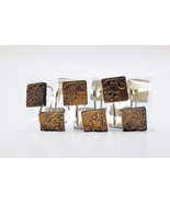 Shower Curtain Hooks in Square Flower Style - Color Brown with Black wash - $12.86