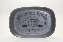 "Pewter Bread Serving Plate Platter Tray by WILTON ARMETALE ""BLESS THIS H... - $12.86"