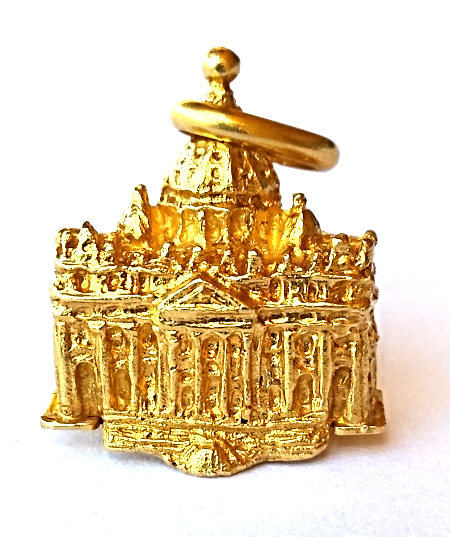 RARE 18K GOLD St.Peter's(The Rock) Basilica Vintage ITALY Pendant/Charm/Keychain