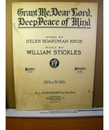Sheet Music Grant Me, Dear Lord, Deep Peace of Mind 1923 - $8.09