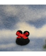 DOLLHOUSE Fun Hat Girl Mouse w Ears & Bow By Barb Miniature - $9.50