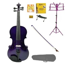 Crystalcello 1/4 Size Acoustic Purple Violin,Purple Stick Bow,Purple Music Stand - $70.00