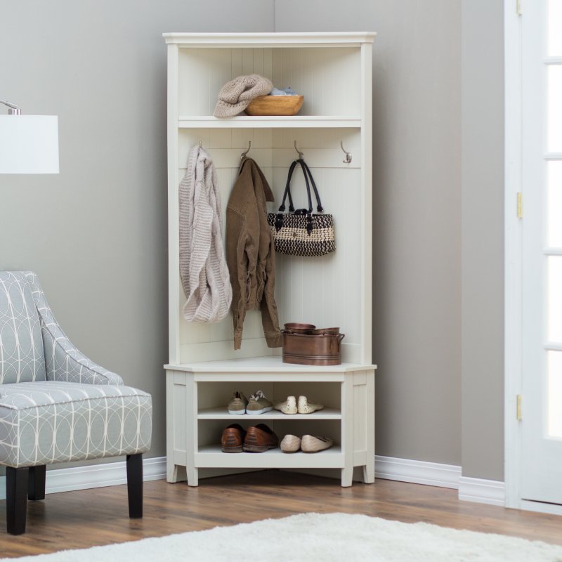 Hall Tree Storage Bench White Corner Coat Rack Shoe Shelf Entryway Furniture New