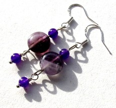 Natural Amethyst stones and Sterling silver dro... - $8.60