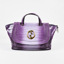 "Gucci Purple Crocodile Belly Gold Tone 'GG' ""1973"" Double Handle Bag - $6,510.00"