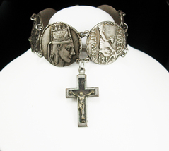 Vintage Greek Religious Bracelet Crucifix Fob charm Ancient coin hinged silver  - $195.00