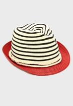 Womens Red Two Tone Straw Fedora Hat Nautical Rope Band Summer Hat - $18.00
