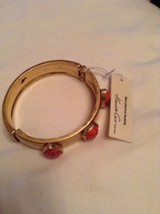 Kenneth Cole gold tone bangle with semi precious coral accents #562 - $21.40