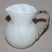 White Spatter Glass Pitcher Clear Applied Handl... - $15.50