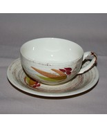 Cup and Saucer Vernonware Trade Winds Metlox Brown Green Red Leaves - $8.86