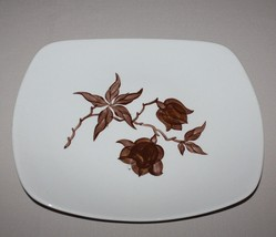 Platter Orchard Ware Magnolia Serving Plate Brown Flower Square California - $12.50