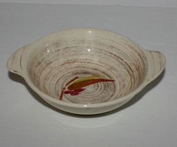Lugged Cereal Bowl Vernonware Trade Winds Metlox Brown Green Red Leaves - $15.35