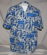 XL Royal Creations Hawaiian Shirt Blue White Bamboo Tiki Hibiscus Hawaii - $9.41