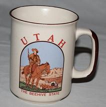 Utah Mug Speckled Cream Brown Beehive State - $8.86