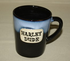 Harley Dude Mug 16 Ounces Ganz Black Blue Flared Motorcycle - $21.50