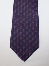 Bert Pulitzer Necktie Purple Green Gray Links Chain Silk Tie 3 3/4 x 55 1/2 - $9.25