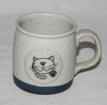 Sleepy Cat Stoneware Mug Gray Blue Medallion 12 Ounces - $22.50