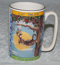 Cat Tales Mug Gary Patterson 1998 Cartoon Kitty Says Now What? - $19.31