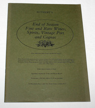Sotheby's Catalogue End Season Fine Rare Wines Spirits Vintage Port Cogn... - $10.99