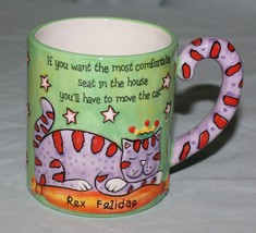 Rex Felidae Cat Mug Redwine Embossed For Most Comfortable Seat Move the Cat - $19.31