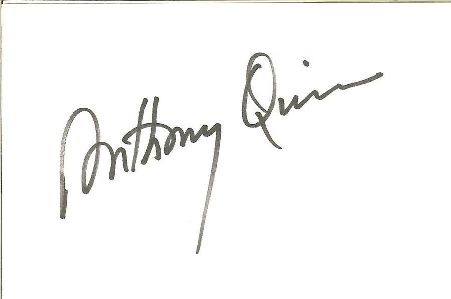 Anthony quinn autograph  western movie star actor hollywood 3x5 card
