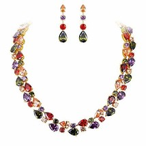 EVER FAITH Gold-Tone Zircon Party Double Layers Tear Drop Necklace Earri... - $74.25