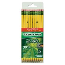 Dixon Ticonderoga Pre-sharpened with Erasers Pencils, 2, Yellow, 2 Boxes of 30 ( - $26.19