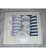 Cloud Island Flannel Blankets Set Pack of 4 By The Sea Blue Tones - $7.74