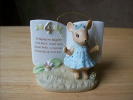 1993 Enesco Birthday 4 Mouse Jumping Rope Figurine  - $13.00