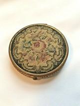 Vintage Needlepoint Compact Flora Round Black Enamel Back Puff and Powder - $41.61