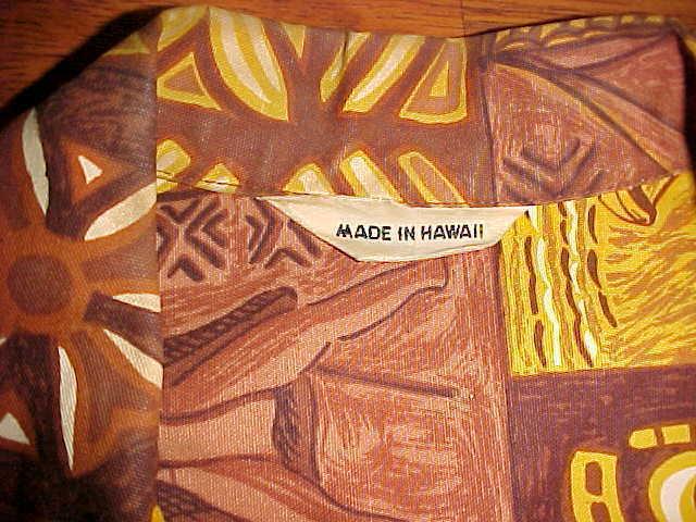 2881592e Made in Hawaii Brown Tiki Samoan Men Island Primitive Hawaiian Cotton Camp  Shirt