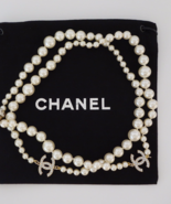 CHANEL Authentic Chanel Classic CC Pearl Long Necklace White Gold Tone NEW - $1,299.99