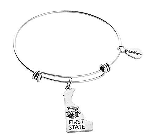 State of Delaware Charm Bangle Bracelet (silver-plated-base)