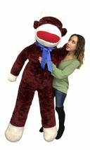 6 Foot Giant Sock Monkey Maroon Color Soft Huge Stuffed Animal Made in t... - $247.11