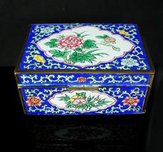 Chinese Enamel Box Asian flowers Oriental lotus blossom large Trinket ca... - $245.00