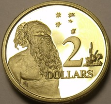 Cameo Proof Australia 1989 2 Dollars~Aboriginal Man ~67,000 Minted~Free Shipping - $13.16