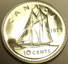 Proof Canada 1975 10 Cents~Bluenose Sailboat~97,263 Minted~Free Shipping - $3.85