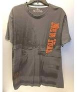 ROBIN RUTH NEW YORK Women's XL T-Shirt Distressed Patch Gray/Rust Graphi... - $29.65